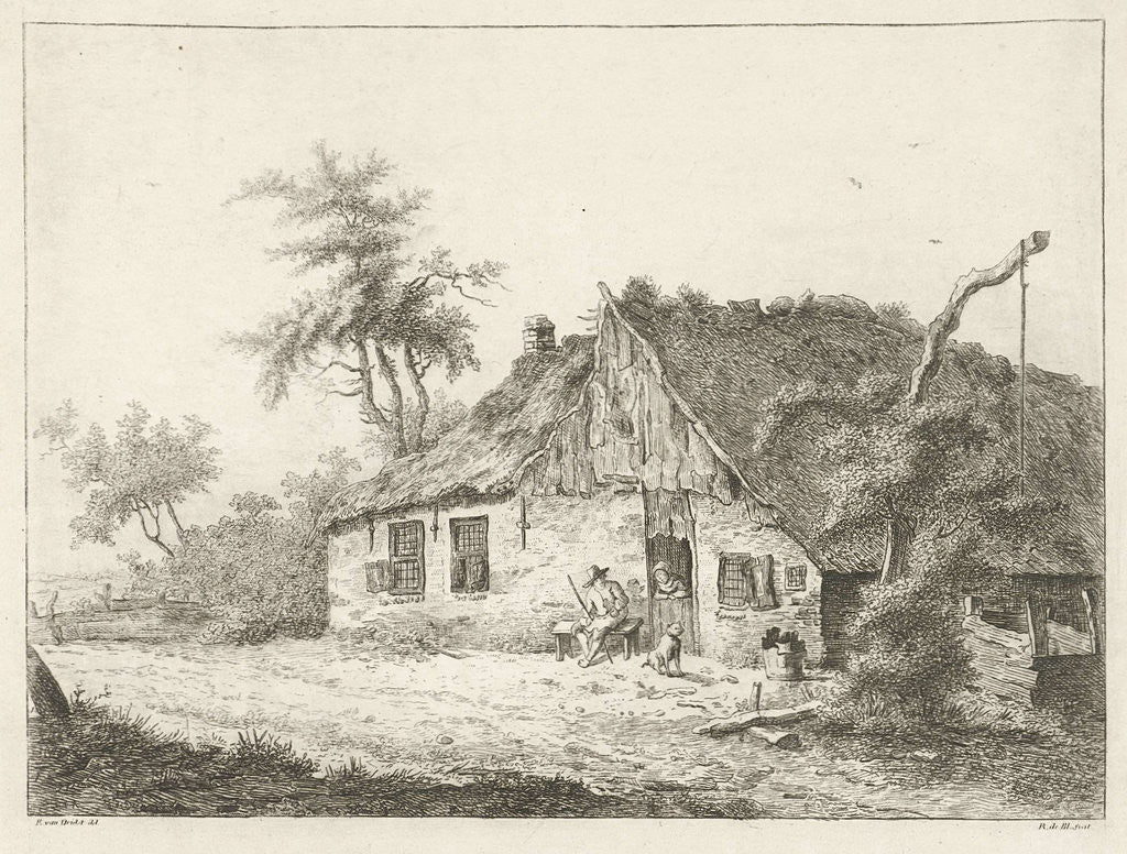 Detail of A farm with a thatched roof, a peasant woman is leaning on the lower door, next door a farmer sitting on a bench and a dog by baron Reinierus Albertus Ludovicus van Isendoorn à Blois