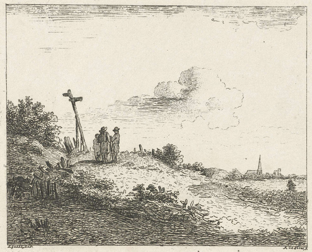 Detail of Landscape with signpost by baron Reinierus Albertus Ludovicus van Isendoorn à Blois