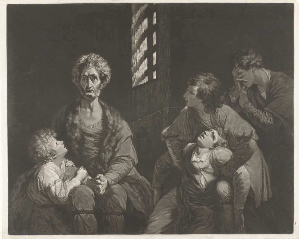 Ugolino conte della Gherardesca dies with three of his sons and one of his grandsons starvation in the dungeon by John Boydell