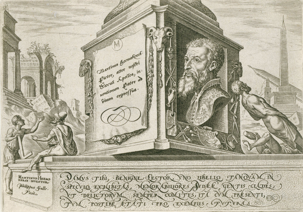 Portrait of Maarten van Heemskerck at the base of a pillar by Philips Galle