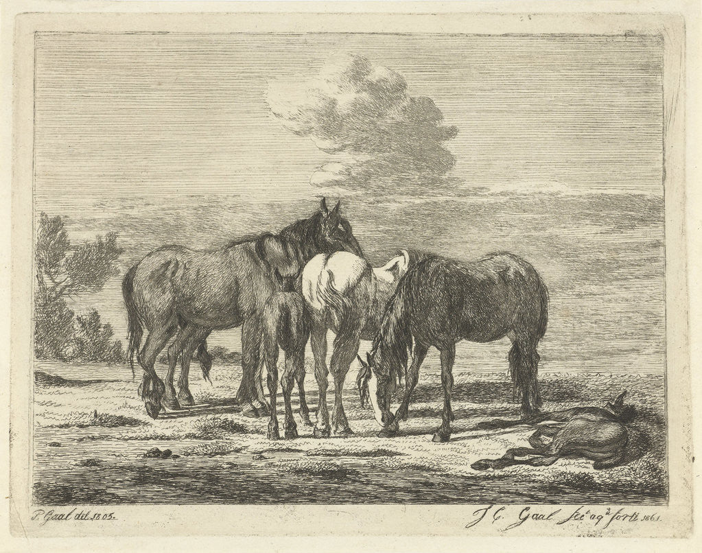 Detail of Four horses and two foals by Pieter Gaal