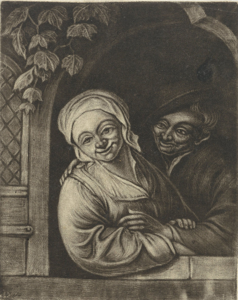 Detail of Couple in a window opening by Adriaen van Ostade