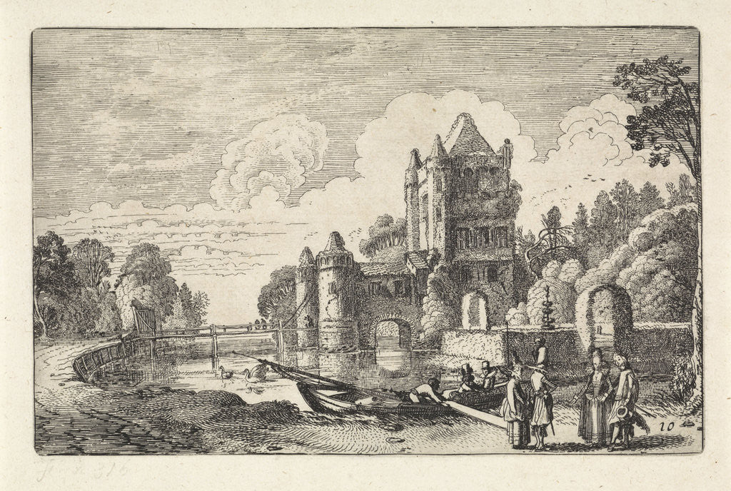 Detail of Landscape with the Amsterdam Gate in Haarlem by Jan van de Velde II