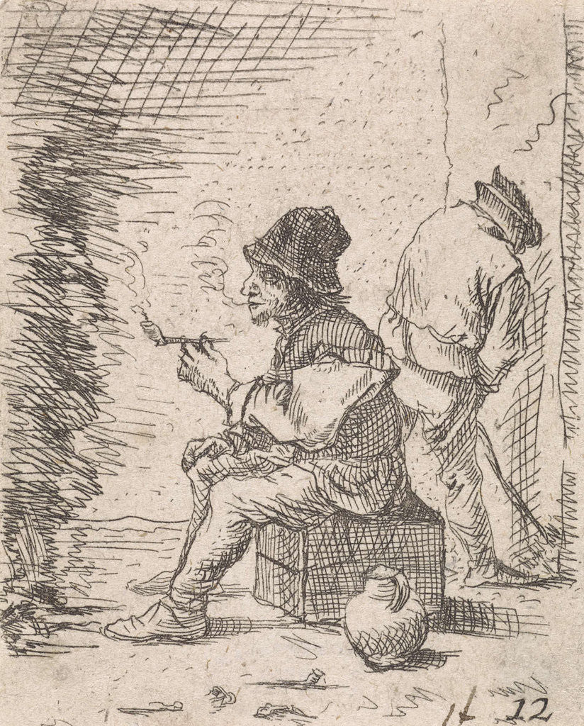 Detail of Smoking farmer by the fire by Anonymous