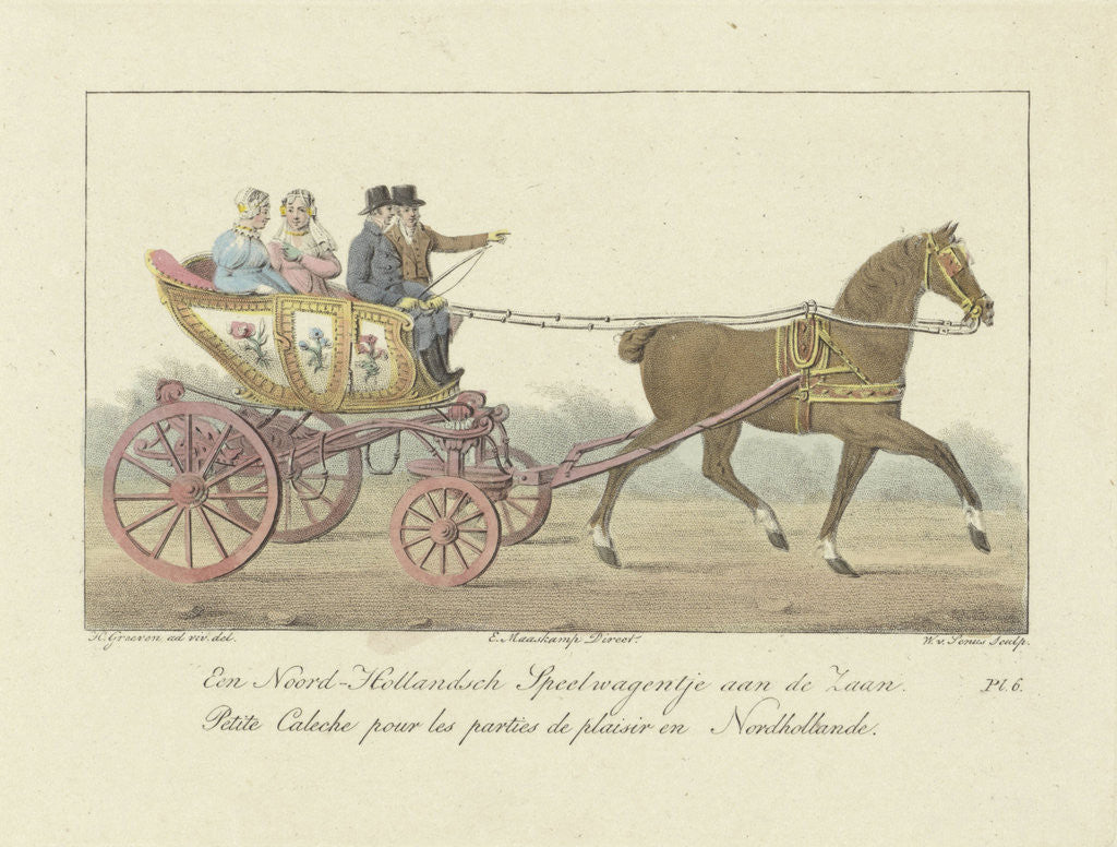 Detail of Two couples in a carriage by Evert Maaskamp