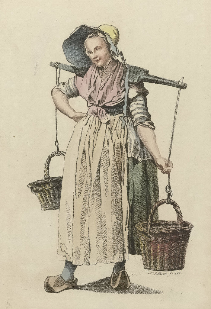 Detail of Peasant Woman with two baskets on a yoke by Johannes Huibert Prins
