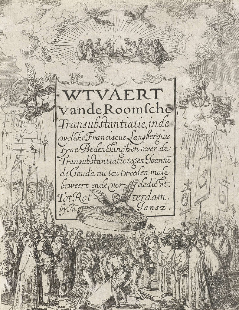 Detail of Title print for the pamphlet Wtvaert Vande Roman Catholic transubstantiation, 1612 by Jan Jansz