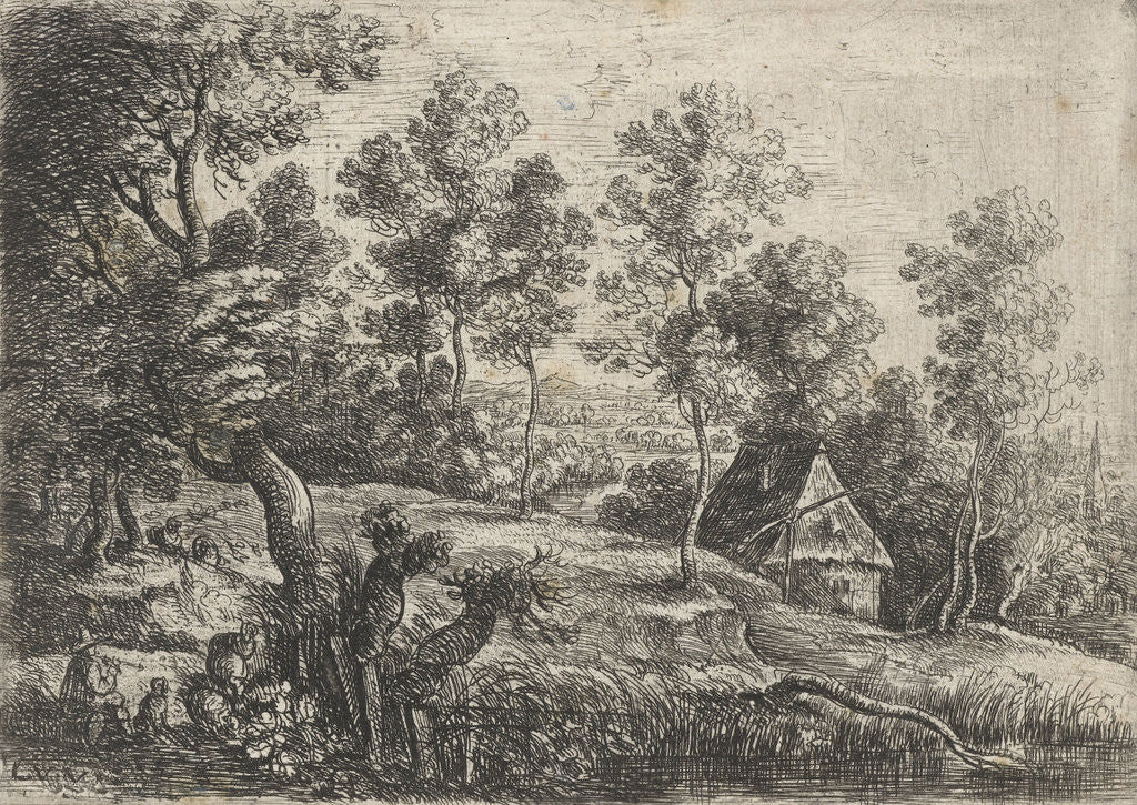 Detail of Landscape with a house and a well, in the foreground a flute-playing shepherd with his dog by Lucas van Uden