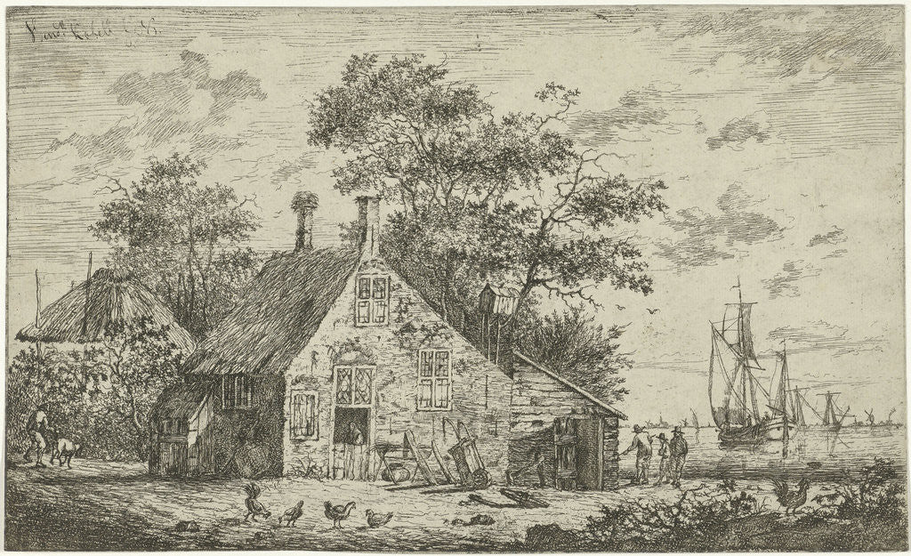 Detail of Farm on a river by Hendrik Kobell