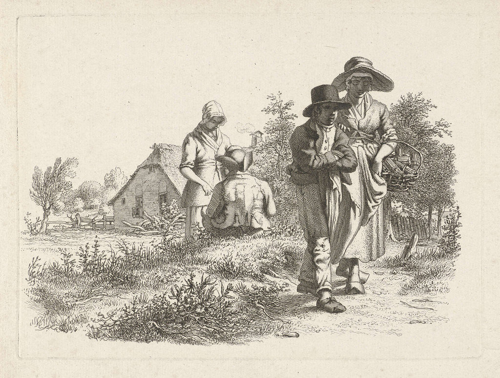Detail of Blind woman and conversing figures at a farm by Jacob Ernst Marcus