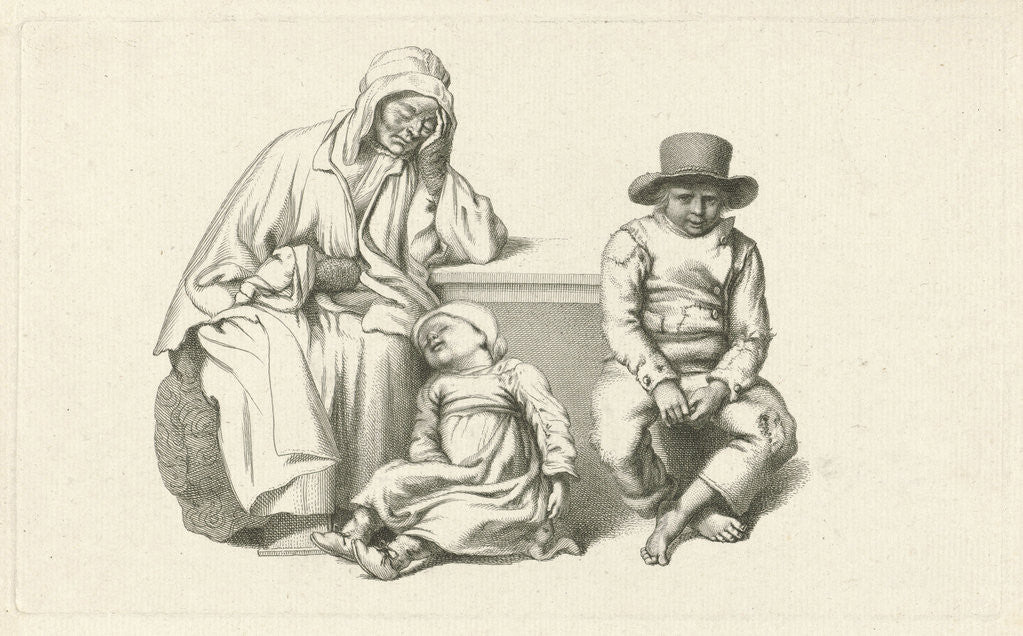 Sitting old wife and two children by Jacob Ernst Marcus