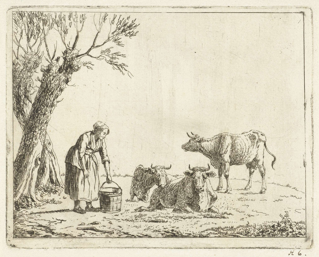 Detail of Landscape with woman with milk bucket with three cows by Cornelis Bisschop