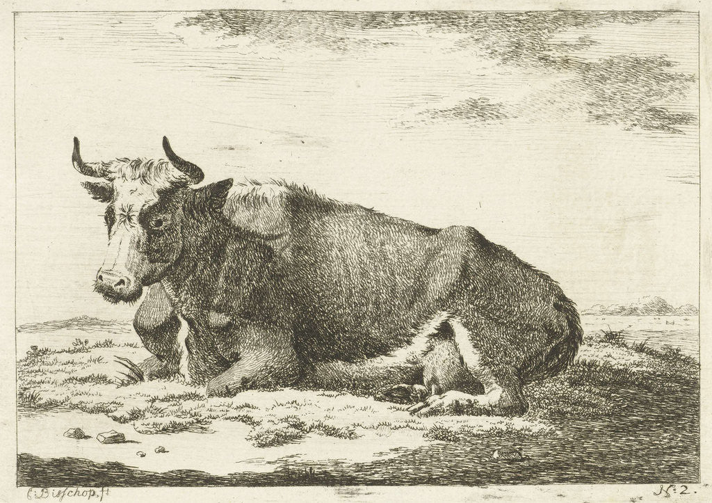 Detail of Landscape with reclining cow with horns by Cornelis Bisschop