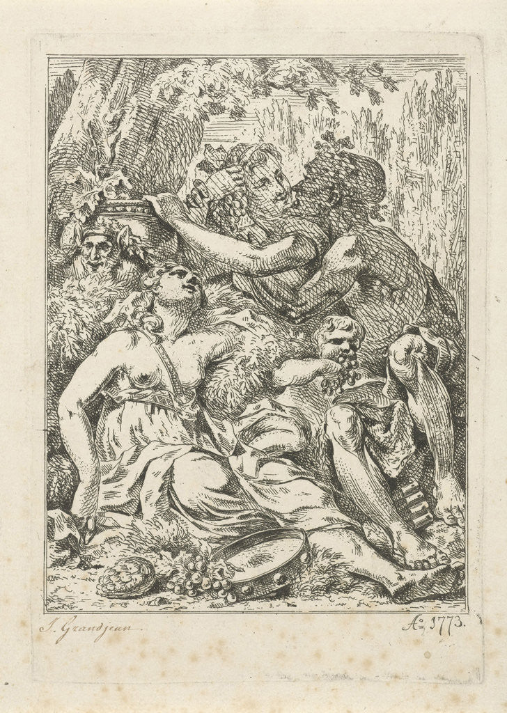 Detail of An orgy with bacchant and two half-naked young women with a putto in the middle by Jean Grandjean
