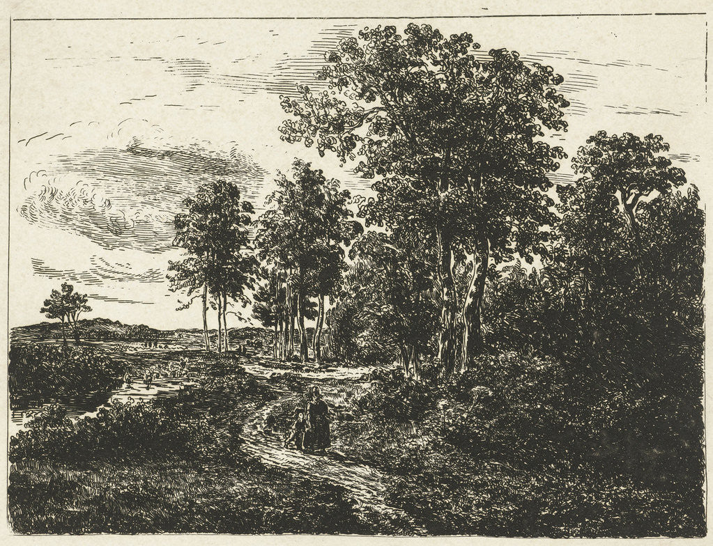 Detail of Forest landscape with woman and boy on the way by Johannes Adrianus van der Drift