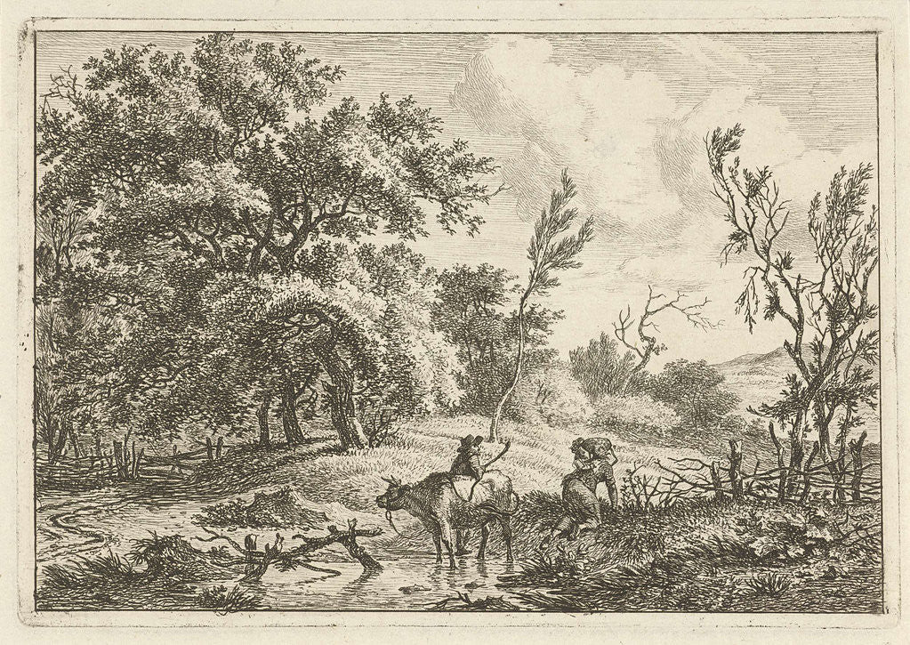 Detail of Landscape with bull and herdsman by Hermanus Fock