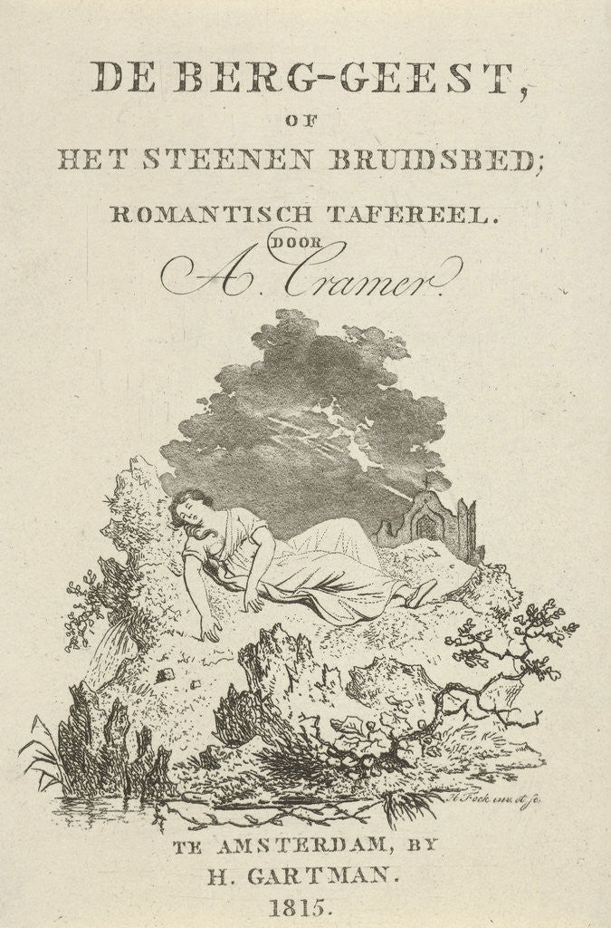 Detail of Title Page for The mountain spirit or the stone bridal bed by Amsterdam