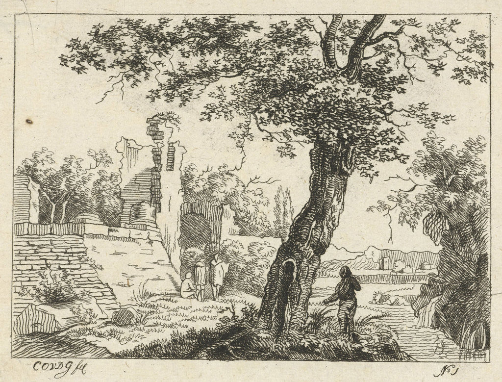Detail of Landscape with ruins by Cornelis Ouboter van der Griendt