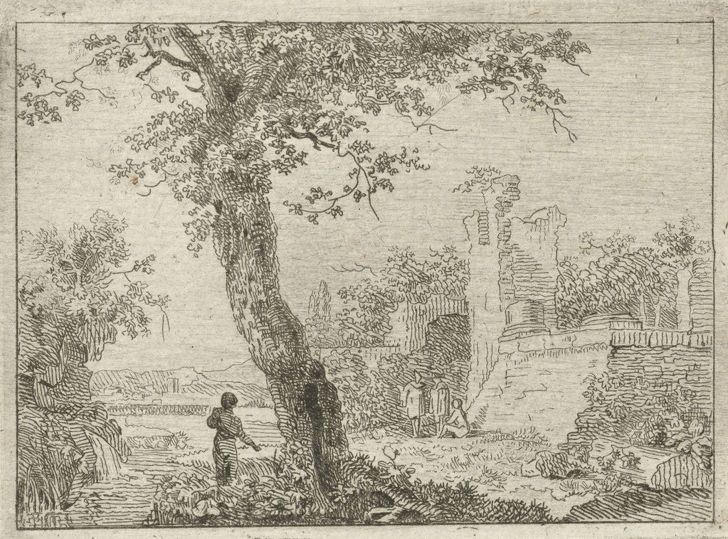 Detail of Landscape with ruins and four figures, in the foreground is a tree by Cornelis Ouboter van der Griendt