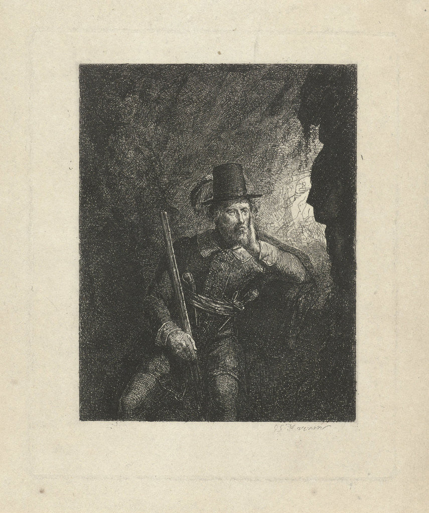 Detail of Armed robber in a cave by George Gillis Haanen