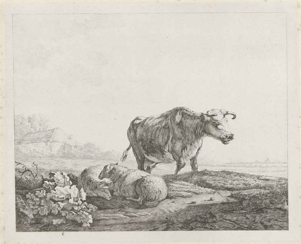 Detail of Landscape with a cow and two sheep by Jacob van Strij