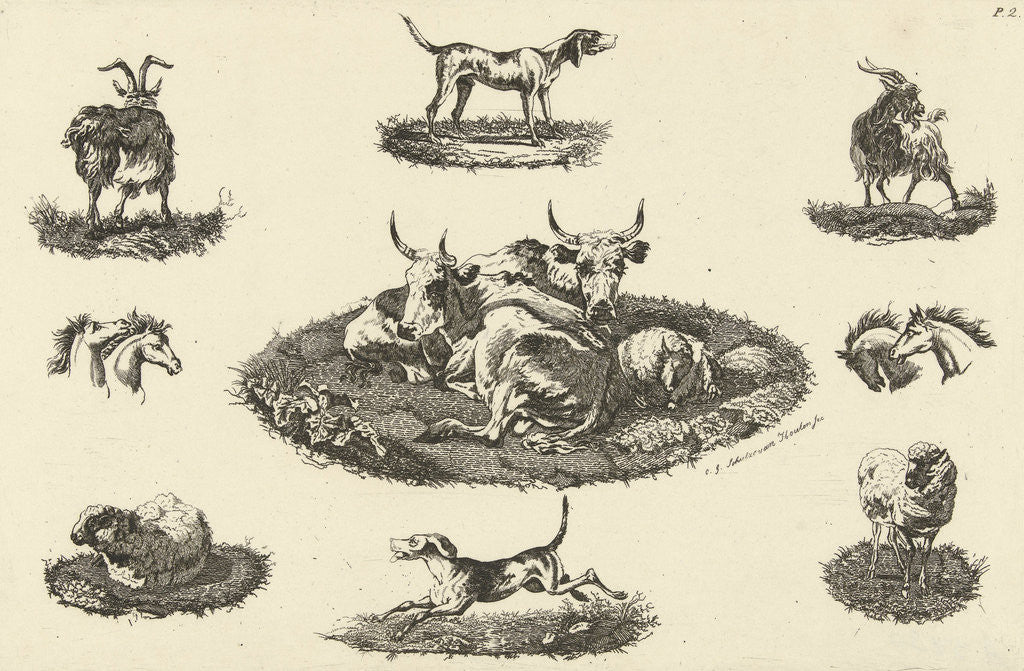 Detail of Two cows, a sheep and other animals by Christiaan Godfried Schutze van Houten