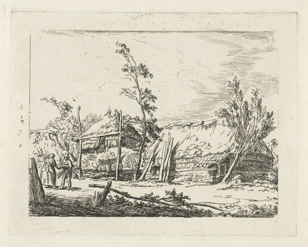 Detail of Farm with haystack by Cornelis de Kruyff