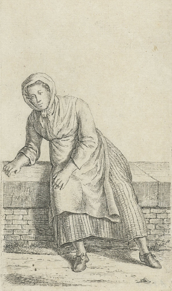 Detail of Woman sitting on a wall by Anthonie Willem Hendrik Nolthenius de Man