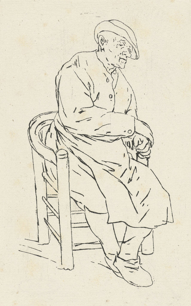 Detail of Seated man in an armchair by Anthonie Willem Hendrik Nolthenius de Man