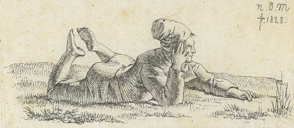 Detail of Boy lying in the grass on his belly by Anthonie Willem Hendrik Nolthenius de Man