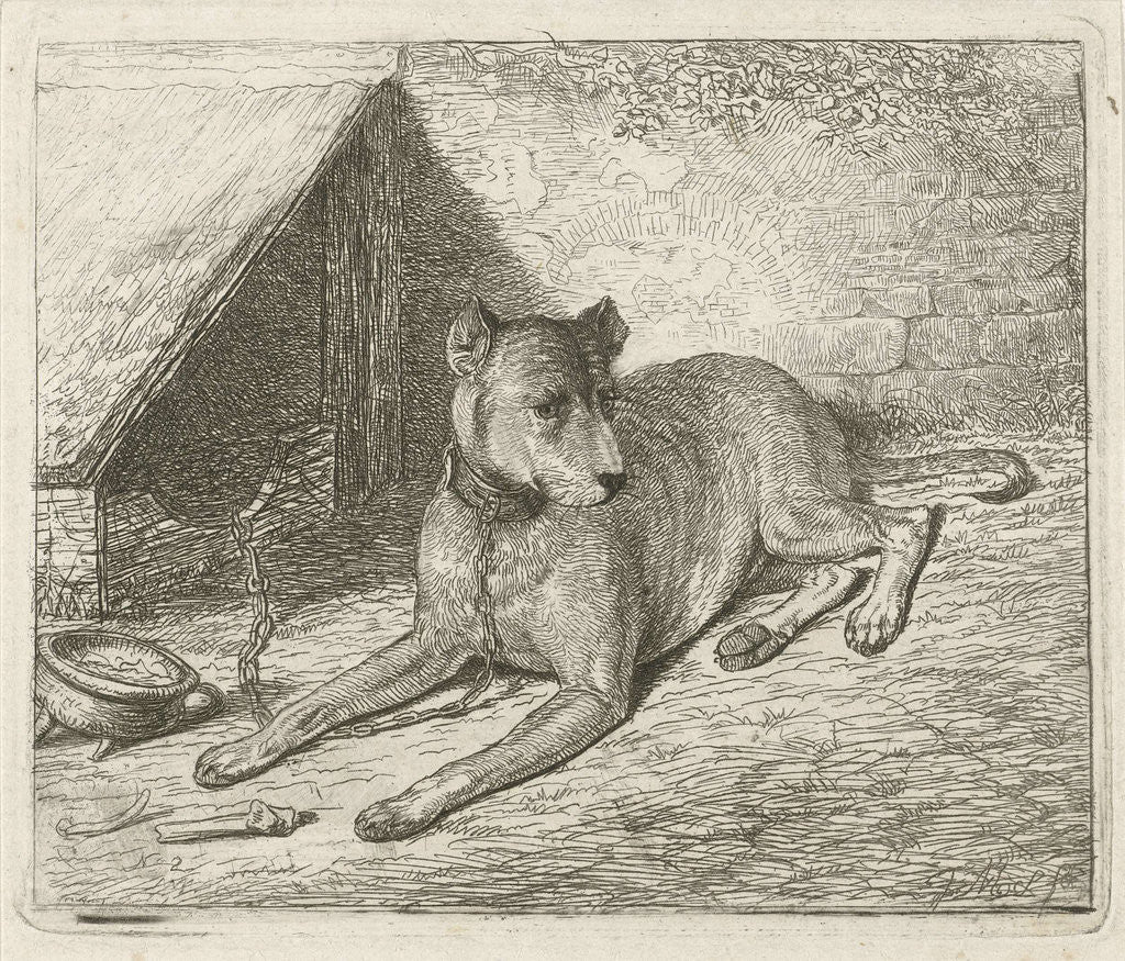Detail of Dog on a chain with a doghouse by Johannes Mock