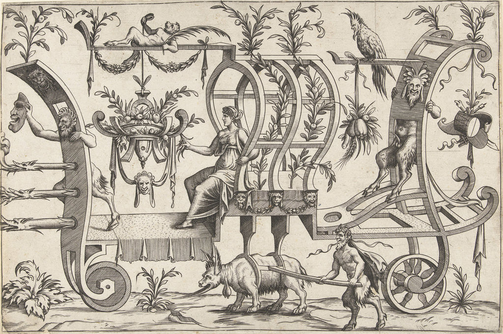 Detail of Chariot drawn by a fantasy beast with goat goatee by Cornelis Bos