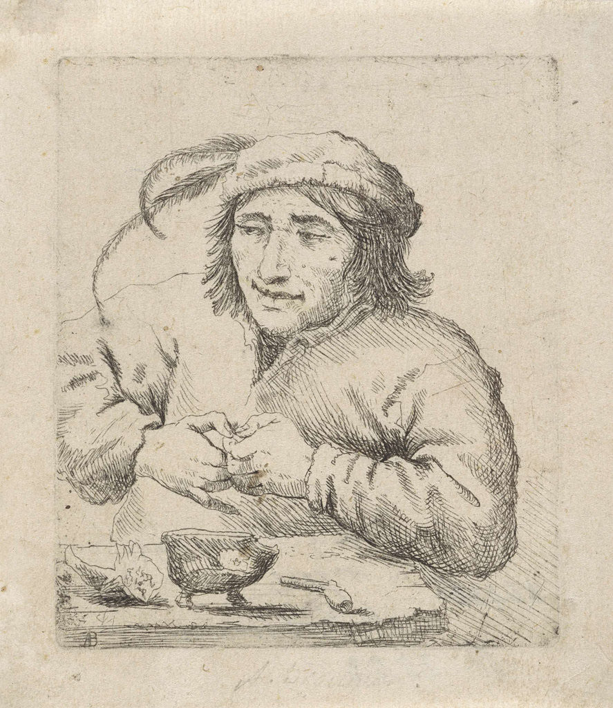 Detail of A man wearing a hat with feathers sits at a table, in front of him tobacco and a pipe by Anonymous