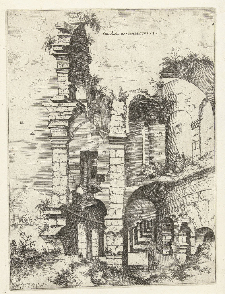 Detail of Fifth sight of the Colosseum in Rome, Italy by Hieronymus Cock