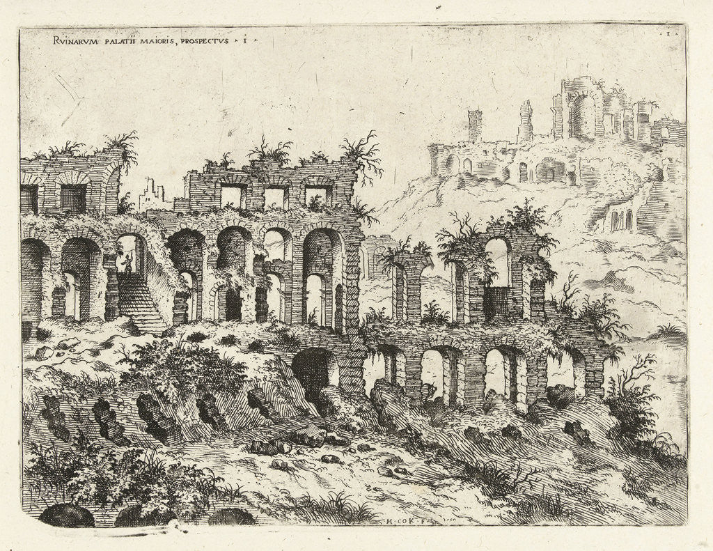 Detail of View of the Colosseum and the Palatine by Hieronymus Cock