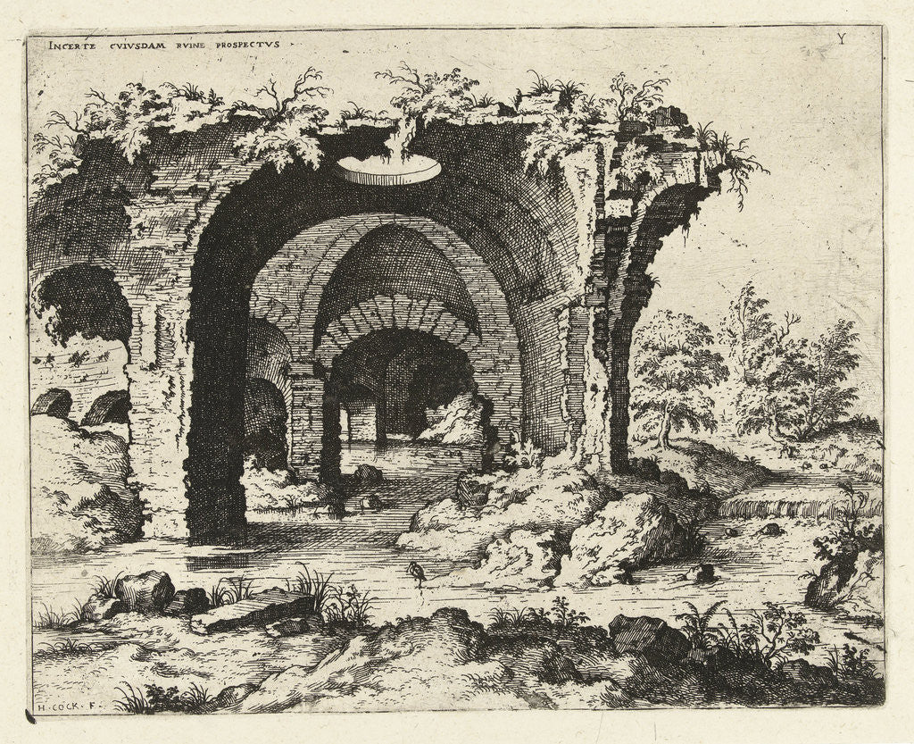 Detail of View of ruins in Rome, Italy by Hieronymus Cock