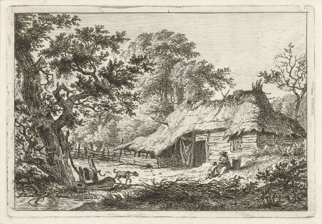 Detail of A landscape with a wooden thatched farmhouse, in the grass is a woman with a child, near a large tree runs a dog by Hermanus Fock