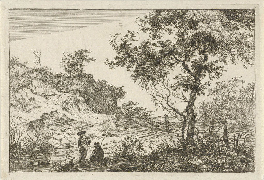 Detail of Dune landscape with a large tree by Hermanus Fock