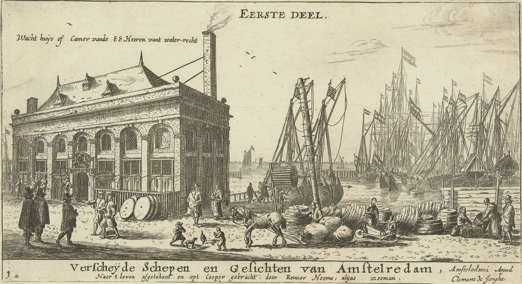 Detail of Amsterdam Harbour with the guardhouse by Clement de Jonghe