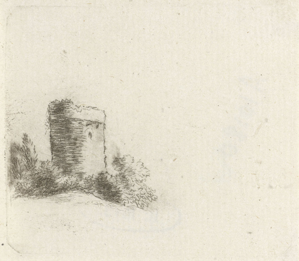 Detail of Landscape with round tower by Johannes Janson