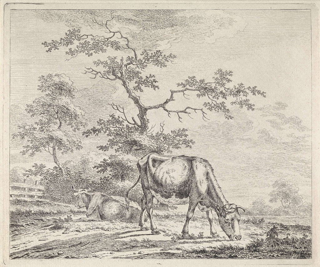 Detail of landscape with grazing cow by Pieter Janson