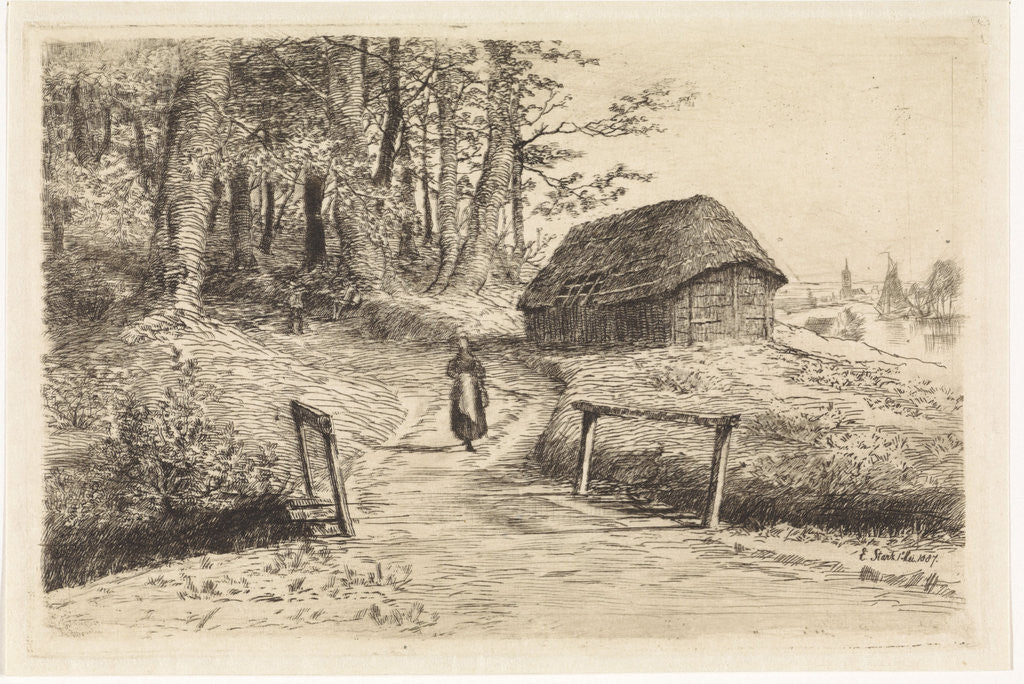 Detail of Landscape with bridge and barn by Elias Stark