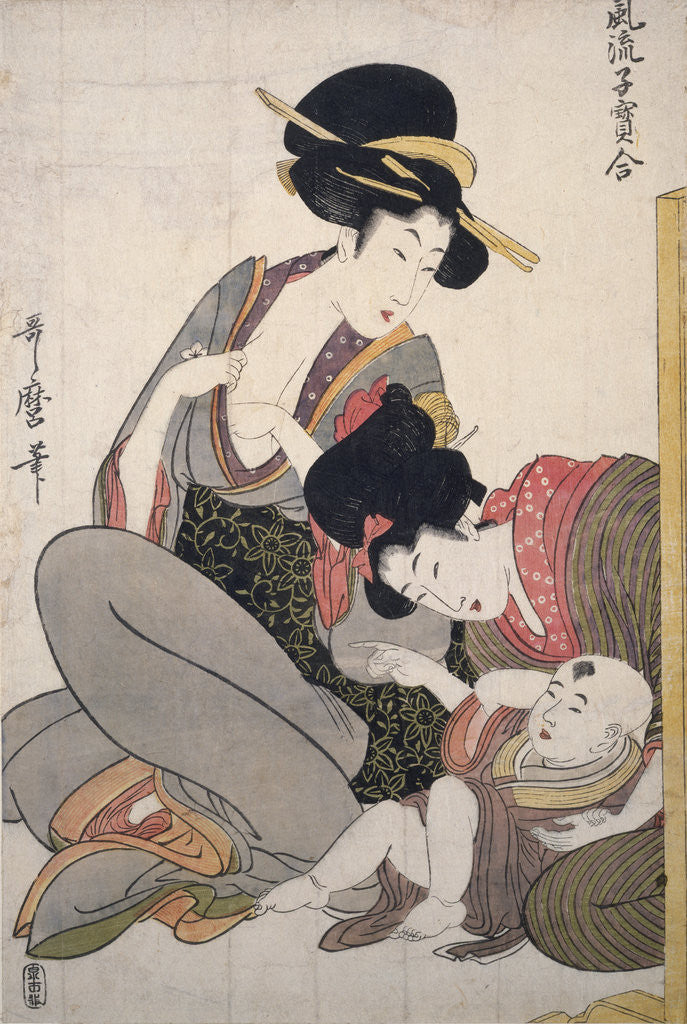 Detail of Chichi, About to breastfeed by Utamaro Kitagawa