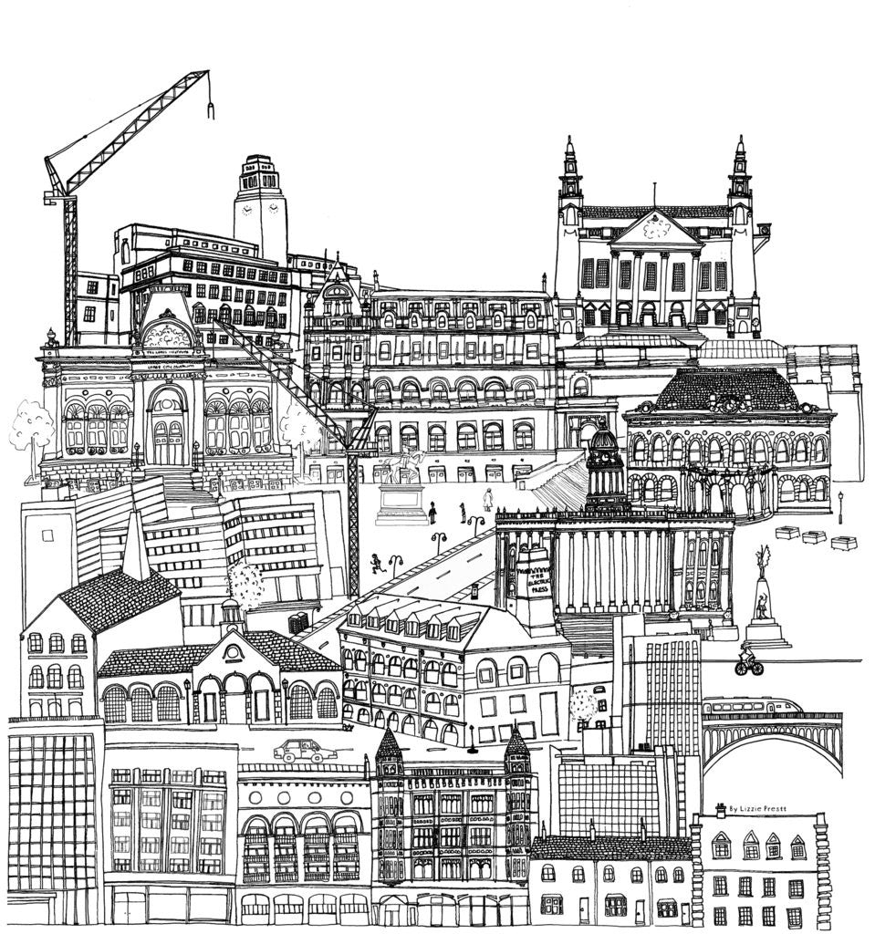 Detail of Leeds Cityscape by Lizzie Prestt