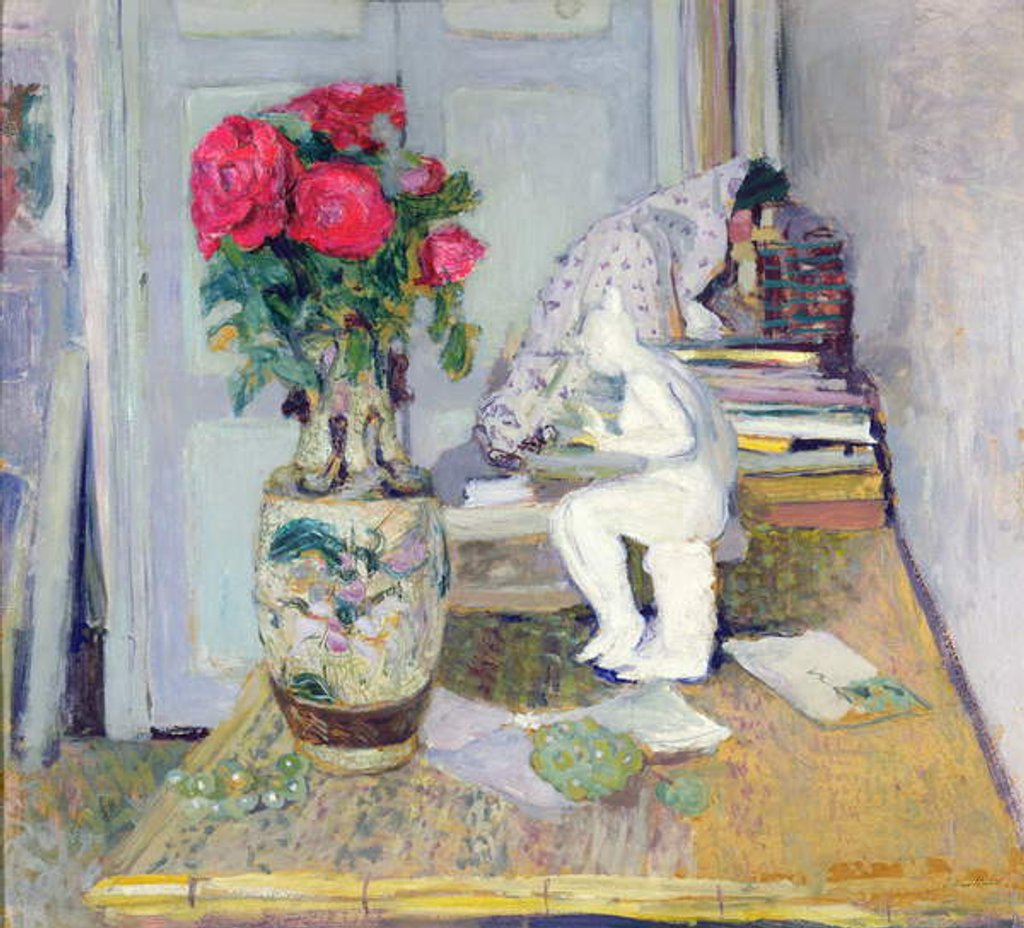 Detail of Statuette by Maillol and Red Roses, c.1903-05 by Edouard Vuillard