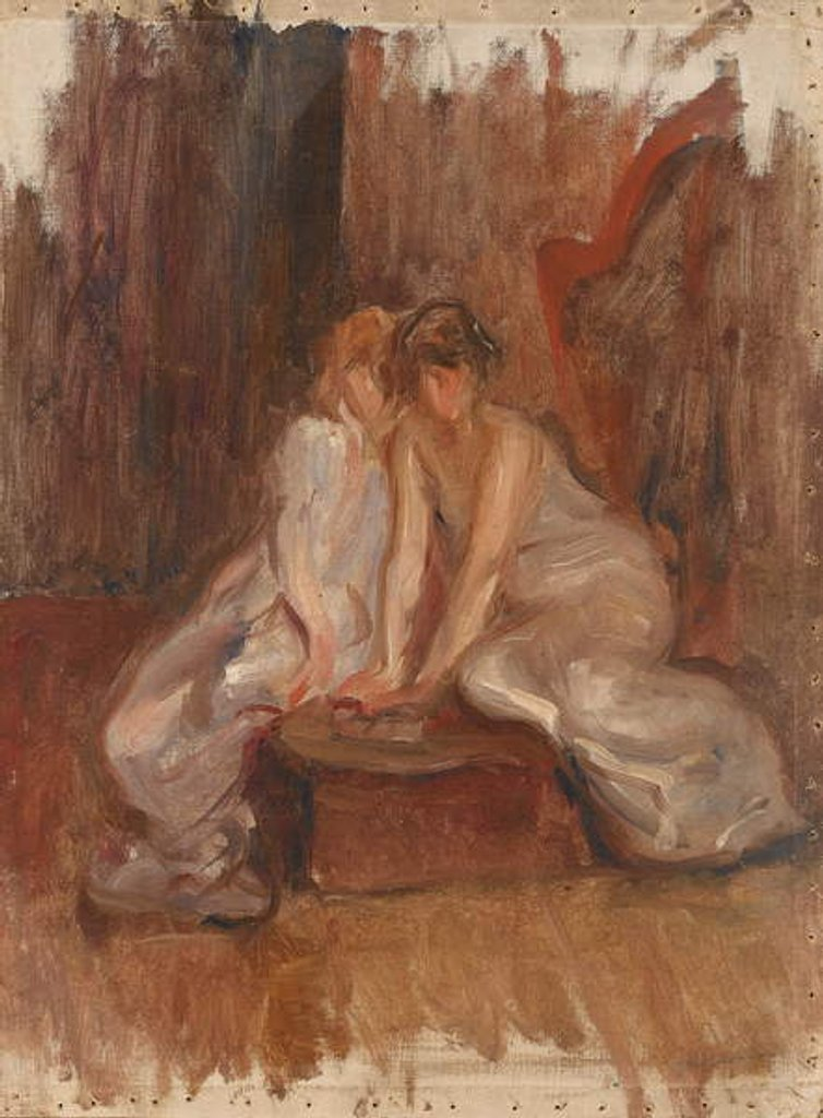 Detail of Two women sitted by a harp - c.1900 by Albert de Belleroche
