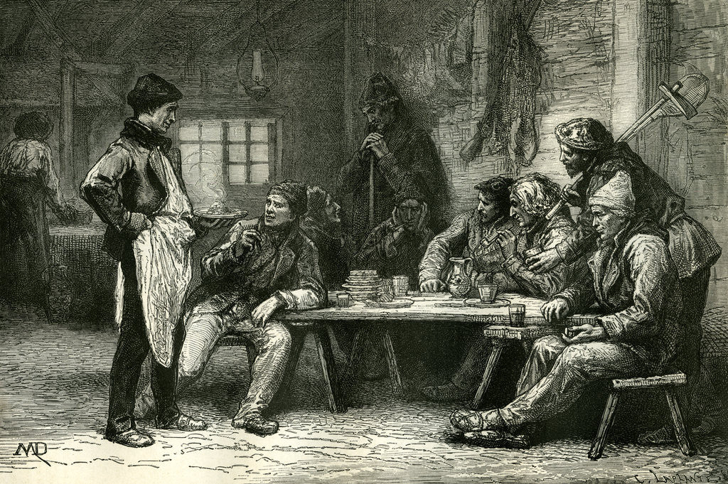 Detail of Canada 19th Century Woodcutters Lumberjackers Tree Fellers Having Diner by Anonymous