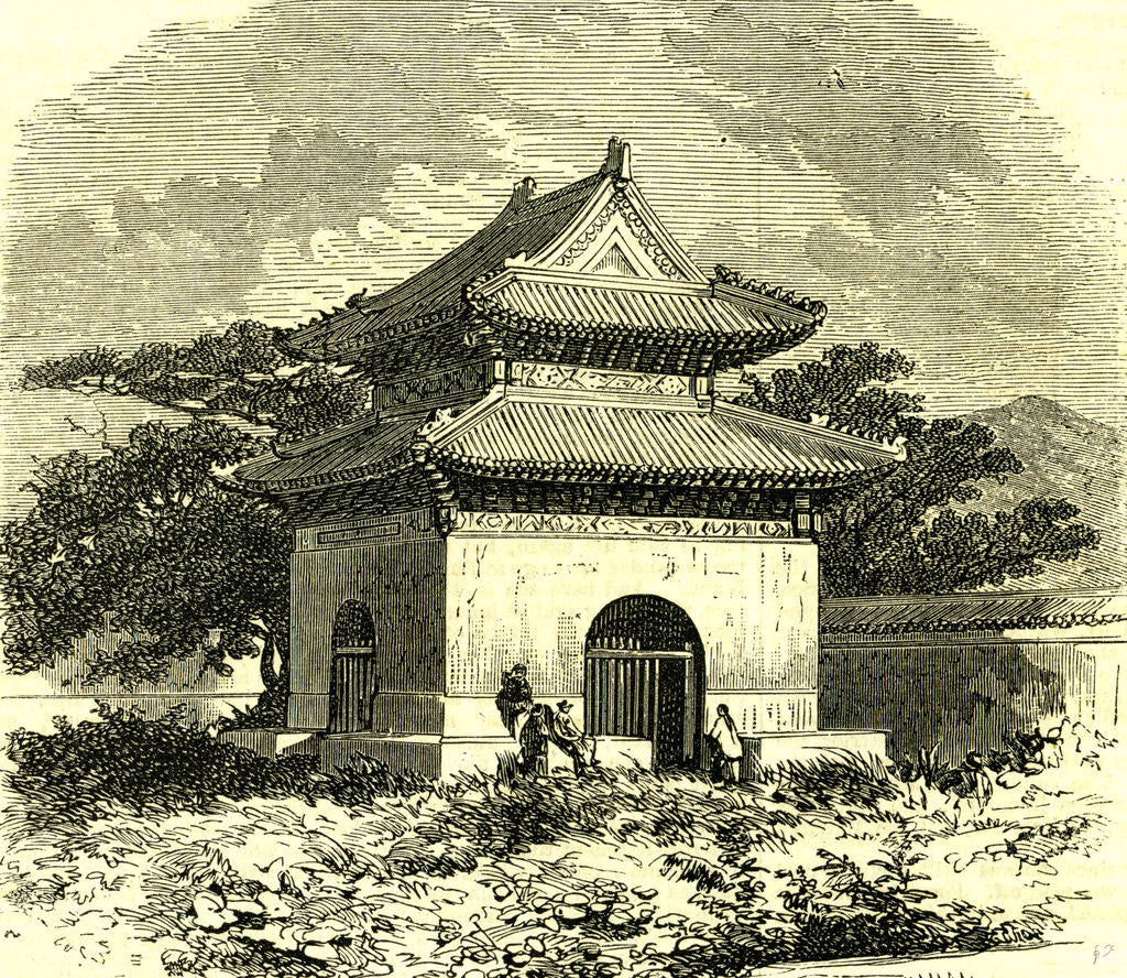 Detail of Kiosk at Beijing 1866 China by Anonymous