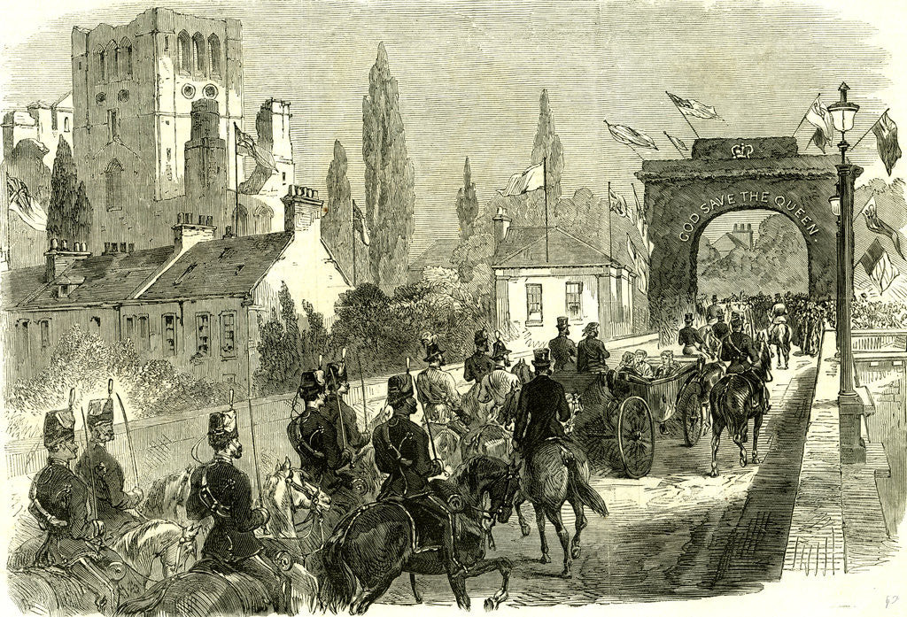 Detail of Kelso UK 1867 the Queen Crossing Kelso Bridge on Her Visit to the Scottish Border Great Britain by Anonymous