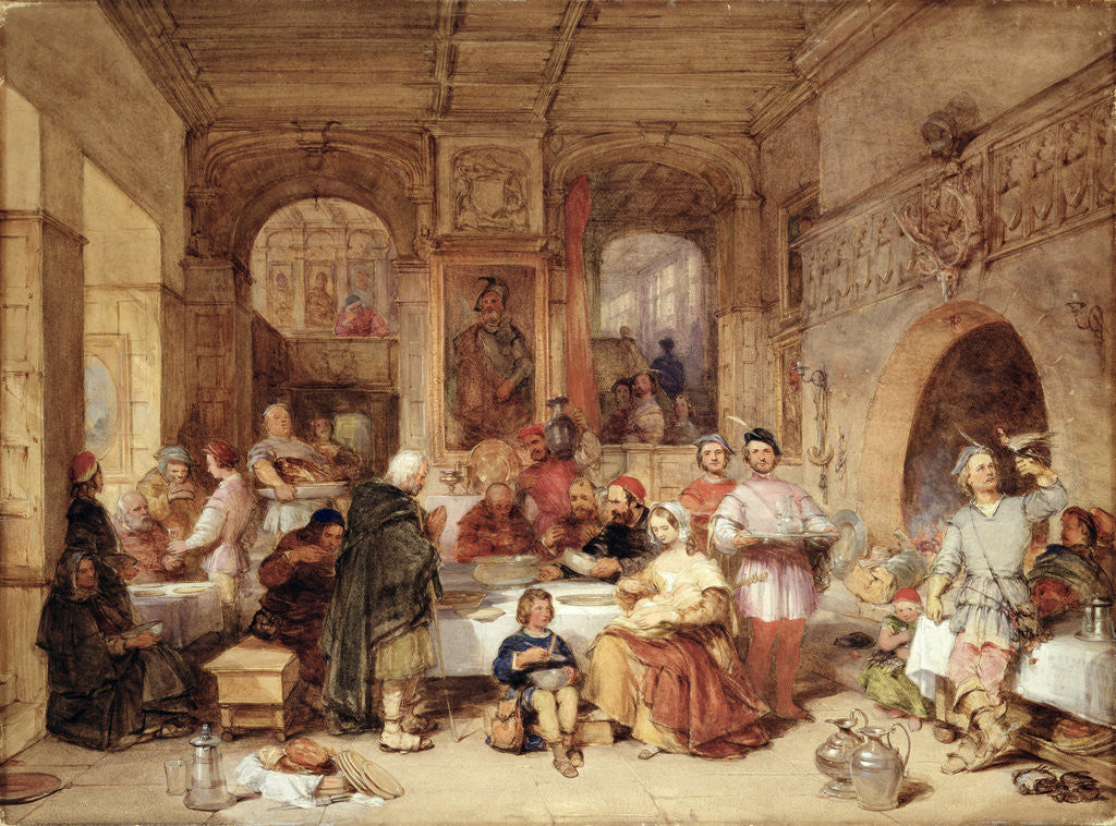 Detail of Dinner in the Great Hall by George Cattermole